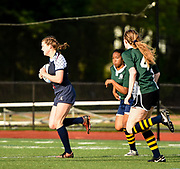 Belmont's Gabby Viale runs the ball to score during the game against the Needham High team at Harris Field in Belmont, May 23, 2017.   [Wicked Local Photo/James Jesson]