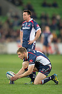 Jason Woodward (Rebels) sets up for a penalty kick at goal. during the Round 17 match of the 2013 Super Rugby Championship between RaboDirect Rebels vs Highlanders at AAMI Park, Melbourne, Victoria, Australia. 12/07/0213. Photo By Lucas Wroe