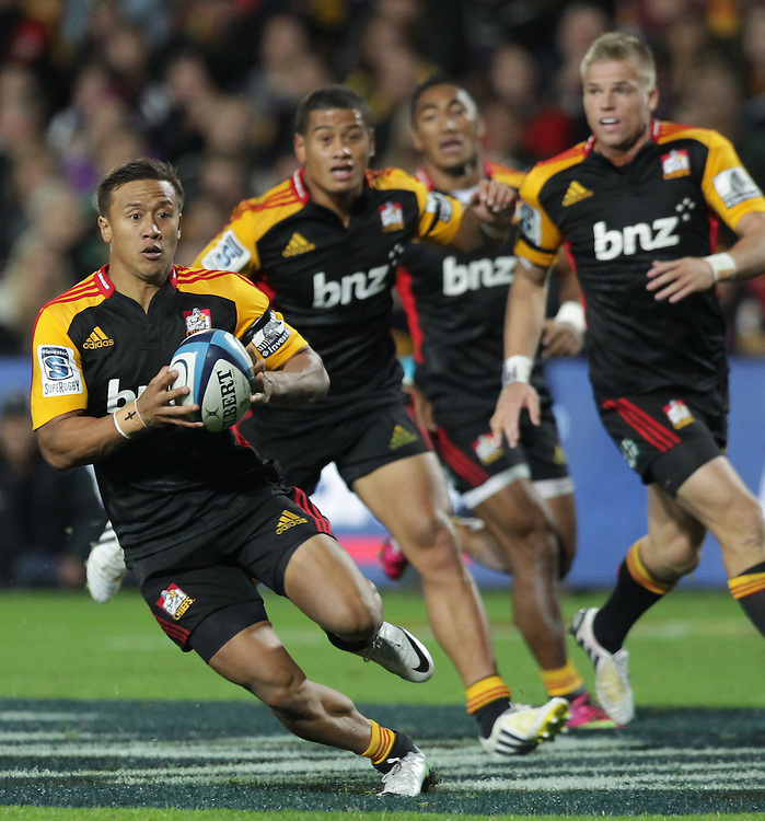 Chiefs' Tim Nanai-Williams in action against the Sharks in a Super Rugby match, Waikato Stadium, Hamilton, New Zealand, Saturday, April 27, 2013.  Credit:SNPA / David Rowland