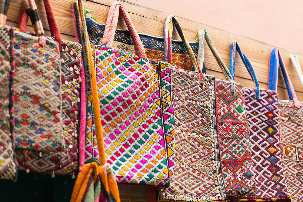 Artisanal, hand made shopping tote bags for sale, Marrakesh, Morocco, North Africa, 2016–04-19.