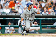 May 24, 2014; Detroit, MI, USA; Texas Rangers second baseman Rougned Odor (73) hits a two RBI triple in the fourth inning against the Detroit Tigers at Comerica Park. Mandatory Credit: Rick Osentoski-USA TODAY Sports