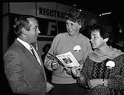Fine Gael 63rd Ard Fheis..1986..12.10.1986..10.12.1986..12th October 1986..The 63rd Fine Gael Ard Fheis was held in the R.D.S.Dublin. An Taoiseach, Garret Fitzgerald, gave the leaders' oration to the assembled Fine Gael ranks..Pictured at the registration desk in the R.D.S were Mr Finbar Fitzpatrick, General Secretary of Fine Gael with Ms Evelyn Fitzgerald and Ms Breda Wims,both of Carrigaline, Cork.