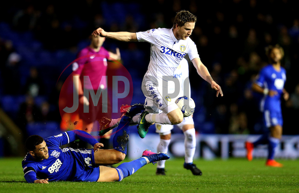 Che Adams of Birmingham City tackles Eunan O'Kane of Leeds United - Mandatory by-line: Robbie Stephenson/JMP - 03/03/2017 - FOOTBALL - St Andrew's Stadium - Birmingham, England - Birmingham City v Leeds United - Sky Bet Championship