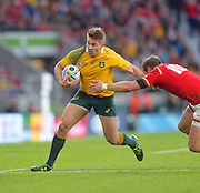 Drew Mitchell breaks a tackle during the Rugby World Cup Pool A match between Australia and Wales at Twickenham, Richmond, United Kingdom on 10 October 2015. Photo by Ian Muir.during the Rugby World Cup Pool A match between Australia and Wales at Twickenham, Richmond, United Kingdom on 10 October 2015. Photo by Ian Muir.