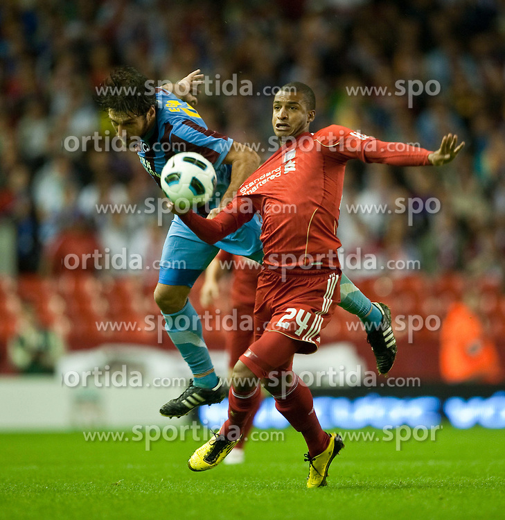 19.08.2010, Anfield Road, Liverpool, ENG, UEFA EL, Liverpool Fc vs Trabzonspor, im Bild Liverpool's David Ngog and Trabzonspor's Egemen Korkmaz, EXPA Pictures © 2010, PhotoCredit: EXPA/ Propaganda/ D. Rawcliffe *** ATTENTION *** UK OUT! / SPORTIDA PHOTO AGENCY
