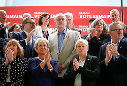 © Licensed to London News Pictures. 14/06/2016. London, UK. Leader of the Labour Party, Jeremy Corbyn, poses with the shadow cabinet and 12 Trade Unions to campaign for a remain vote in the upcoming referendum on the EU. Photo credit: Tolga Akmen/LNP