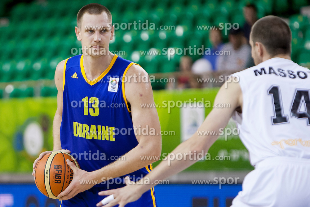 Ihor Zaytsev #13 of Ukraine and Sacha Massot #14 of Belgium during basketball match between National teams of Belgium and Ukraine at Day 1 of Eurobasket 2013 on September 4, 2013 in Tivoli Hall, Ljubljana, Slovenia. (Photo By Urban Urbanc / Sportida.com)