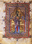 St Basil the Great (c.329-379) one of greatest Greek fathers of the Christian church. Bishop of Caesarea from 370. Armenian manuscript of 1286.