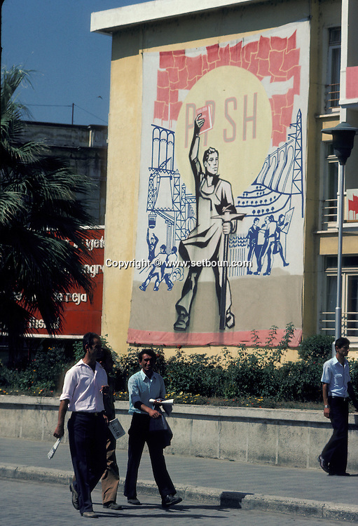 Abania in 1981 under the communist regime. Fieri. stalinist poster in the street of fieri ,