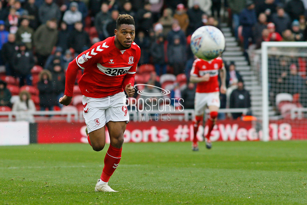 Middlesbrough forward Britt Assombalonga (9)  during the EFL Sky Bet Championship match between Middlesbrough and Derby County at the Riverside Stadium, Middlesbrough, England on 27 October 2018.