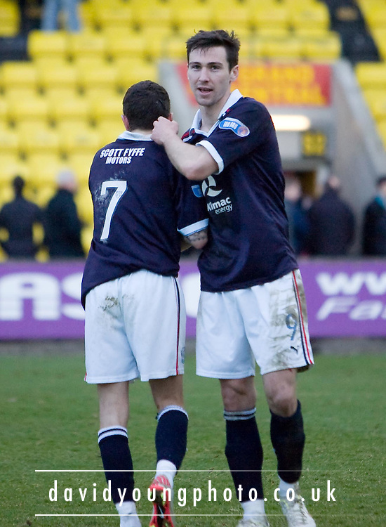 Dundee scorers Jamie McCluskey (7) and Carl Finnigan (9) at end - Livingston v Dundee, IRN BRU Scottish Football League, First Division - ..© David Young - .5 Foundry Place - .Monifieth - .Angus - .DD5 4BB - .Tel: 07765 252616 - .email: davidyoungphoto@gmail.com.web: www.davidyoungphoto.co.uk
