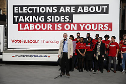 © Licensed to London News Pictures. 03/05/2016. London, UK.  Labour Party Leader Jeremy Corbyn launches an election poster ahead of local and mayoral elections to be held on Thursday May 5th 2016.  Photo credit: Peter Macdiarmid/LNP