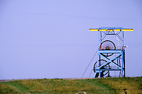 Hickleton Main Colliery headgear against a blue sky. Thurnscoe Rotherham, Doncaster Area National Coal Board.