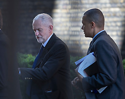 © Licensed to London News Pictures. 06/07/2016. London, UK.  Labour Party Leader Jeremy Corbyn (L) walks to Parliament with fellow Labour MP Clive Lewis on the day the Iraq Inquiry, Chaired by Sir John Chilcot, is finally published.  Photo credit: Peter Macdiarmid/LNP