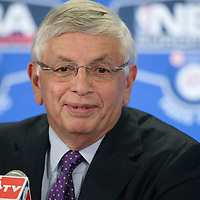 06 October 2010: David Stern, Commissioner of the NBA, is seen prior to the Minnesota Timberwolves 106-100 victory over the New York Knicks, during 2010 NBA Europe Live, at the POPB Arena in Paris, France.