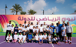 February 12, 2019 - Doha, QATAR - Simona Halep of Romania & Angelique Kerber of Germany during a National Sports Day kids clinic at the 2019 Qatar Total Open WTA Premier tennis tournament (Credit Image: © AFP7 via ZUMA Wire)