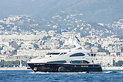 Motor Yacht underway off the Cote d Azur near Nice, South of France.