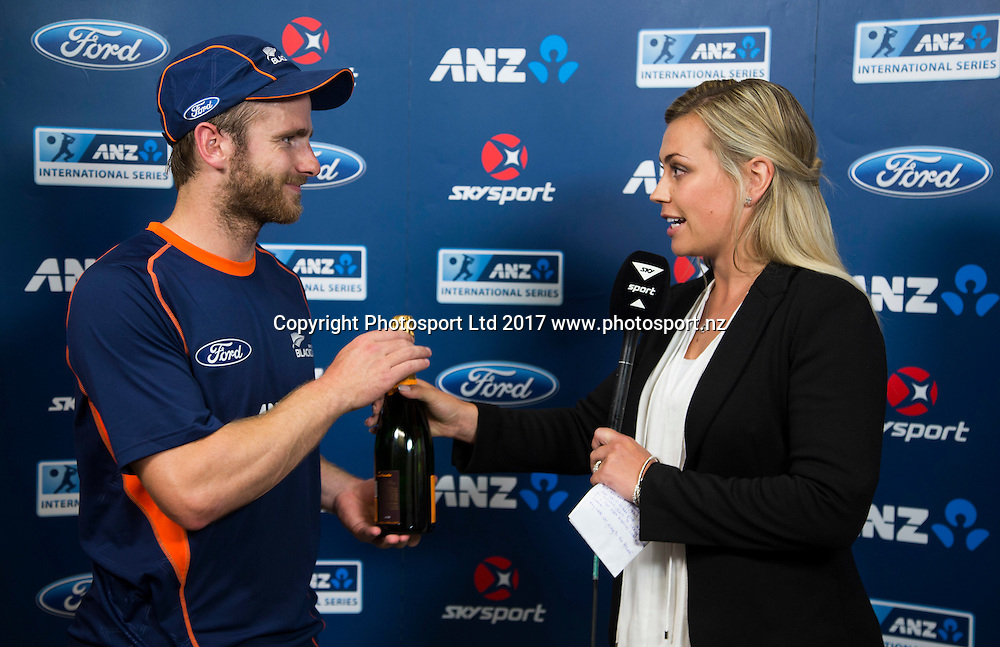 New Zealand's captain Kane Williamson named mon of the match.  New Zealand Blackcaps v Bangladesh, International Cricket, 1st T20, McLean Park, Napier, New Zealand. Tuesday, 03 January, 2017. Copyright photo: John Cowpland / www.photosport.nz