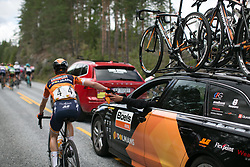 Megan Guarnier (USA) of Boels-Dolmans Cycling Team drops off her gilet on Stage 3 of the Ladies Tour of Norway - a 156.6 km road race, between Svinesund (SE) and Halden on August 20, 2017, in Ostfold, Norway. (Photo by Balint Hamvas/Velofocus.com)