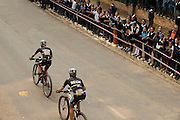 Annika Langvad (front) and Ariane Kleinhans pass thorugh Genadendal during stage 4 of the 2014 Absa Cape Epic Mountain Bike stage race from The Oaks Estate in Greyton, South Africa on the 27 March 2014<br /> <br /> Photo by Greg Beadle/Cape Epic/SPORTZPICS