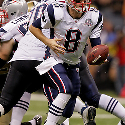 2009 November 30: New England Patriots quarterback Brian Hoyer (8) looks to hand off during a 38-17 win by the New Orleans Saints over the New England Patriots at the Louisiana Superdome in New Orleans, Louisiana.