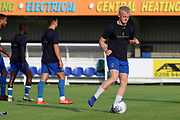 AFC Wimbledon defender Archie Procter (35) warming up during the Pre-Season Friendly match between AFC Wimbledon and Crystal Palace at the Cherry Red Records Stadium, Kingston, England on 30 July 2019.