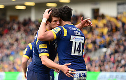Bryce Heem of Worcester Warriors celebrates his try with Donncha O'Callaghan (capt) of Worcester Warriors - Mandatory by-line: Dougie Allward/JMP - 05/03/2017 - RUGBY - Sixways Stadium - Worcester, England - Worcester Warriors v Bristol Rugby - Aviva Premiership