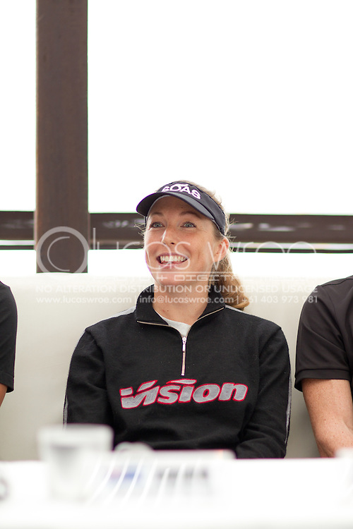 Michelle Mitchell (AUS). Pre Race Press Conference. 2012 Ironman Cairns Triathlon. Salt House Restaurant, Cairns, Queensland, Australia. 31/05/2012. Photo By Lucas Wroe.