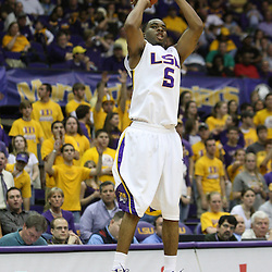14 February 2009: LSU guard Marcus Thornton (5) shoots during a NCAA basketball game between SEC rivals the Ole Miss Rebels and the LSU Tigers at the Pete Maravich Assembly Center in Baton Rouge, LA.