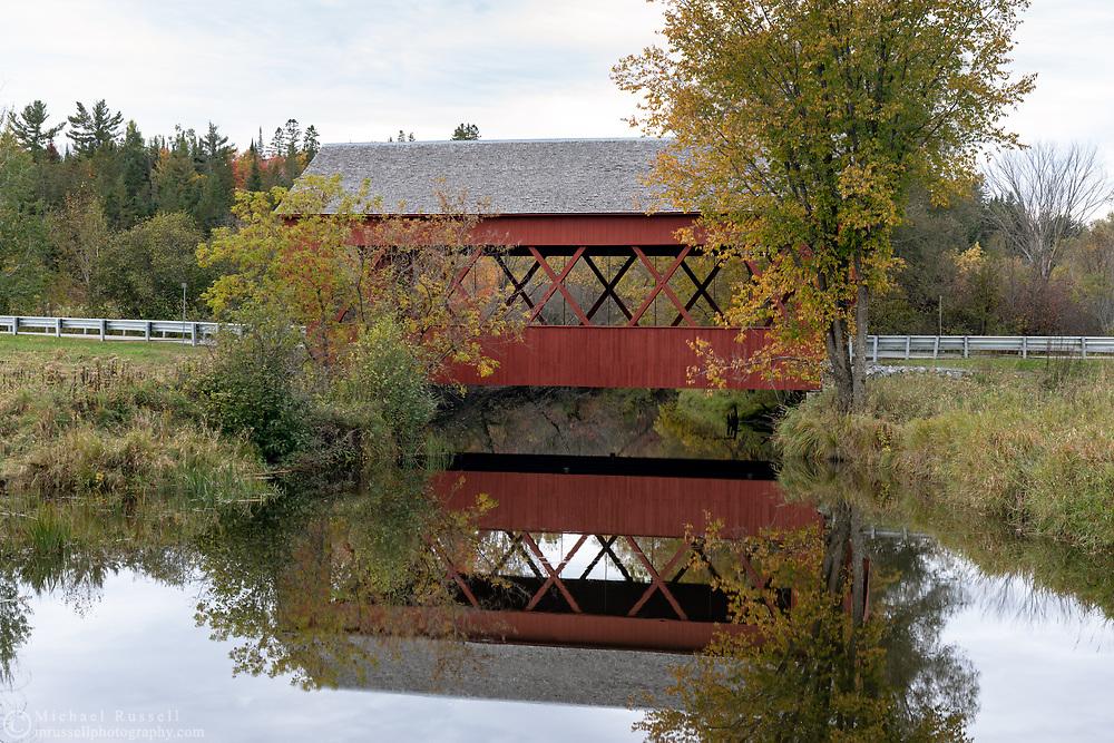 Masham Bridge is a covered bridge on Lac Phillipe Road that crosses the La Pêche River in Sainte-Cécile-de-Masham, Québec, Canada. The Masham Bridge was built in 1958 and spans 19.5m / 64ft. at near the entrance to Gatineau Park.