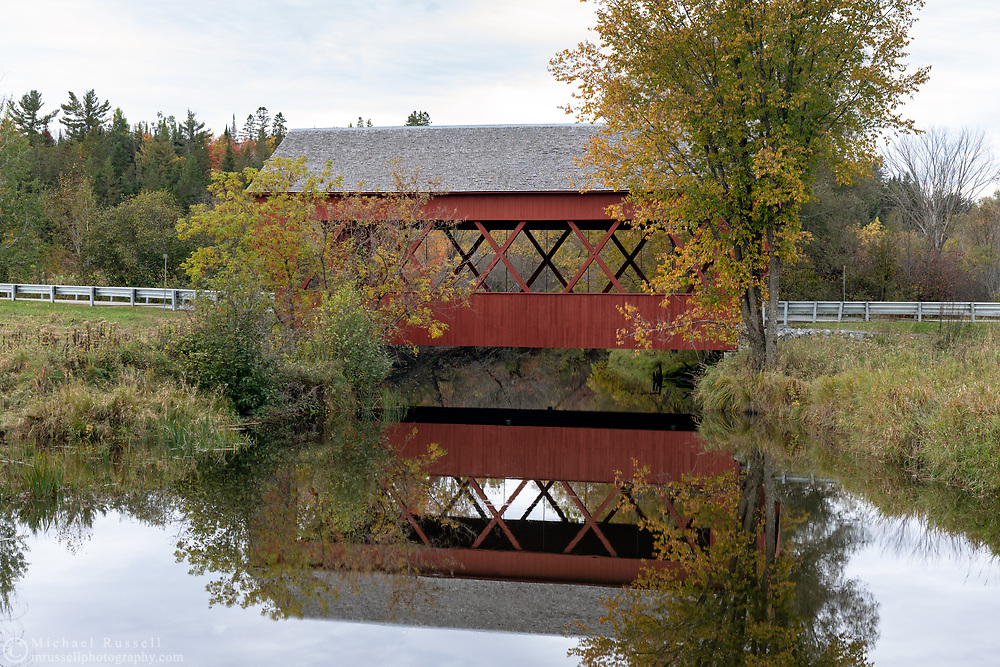 Masham Bridge is a covered bridge on Lac Phillipe Road that crosses the La Pêche River in Sainte-Cécile-de-Masham, Québec, Canada. The Masham Bridge was built in 1958 and spans 19.5m / 64ft. at near the entrance to Gatineau Park.