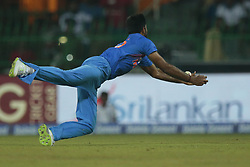 March 8, 2018 - Colombo, Sri Lanka - Indian cricketer Vijay Shankar reaches out in an unsuccessful attempt to take a catch during the 2nd T20 cricket match of NIDAHAS Trophy between India  and Bangladesh at R Premadasa cricket ground, Colombo, Sri Lanka on Thursday 8 March 2018. (Credit Image: © Tharaka Basnayaka/NurPhoto via ZUMA Press)