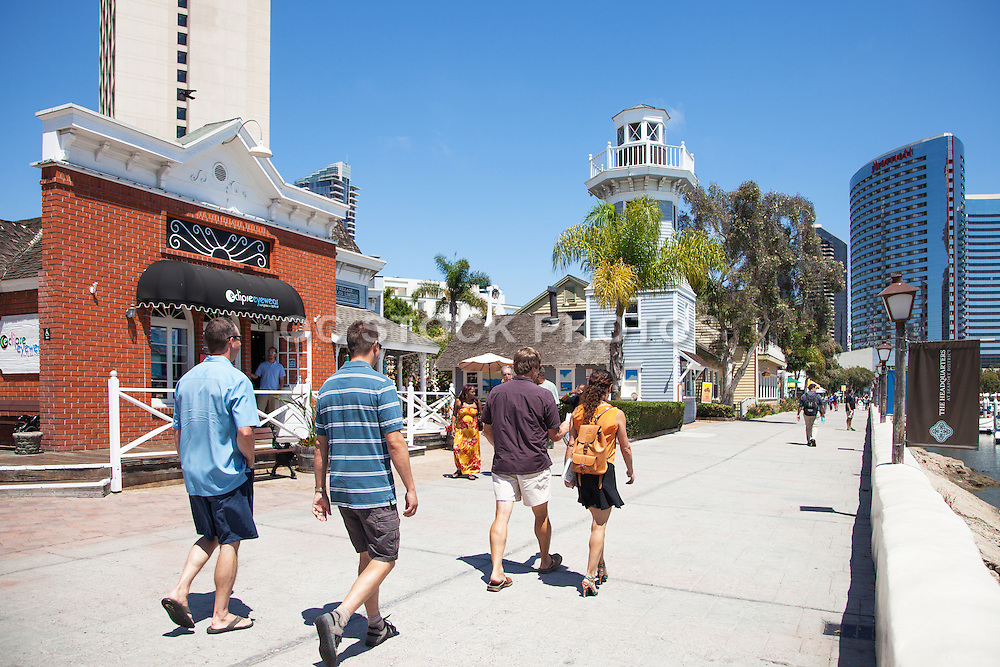 Tourists Walking around Seaport Village in San Diego