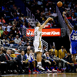 Feb 19, 2016; New Orleans, LA, USA; New Orleans Pelicans forward Ryan Anderson (33) shoots over Philadelphia 76ers forward Jerami Grant (39) during the second half of a game at the Smoothie King Center. The Pelicans defeated the 76ers 121-114. Mandatory Credit: Derick E. Hingle-USA TODAY Sports