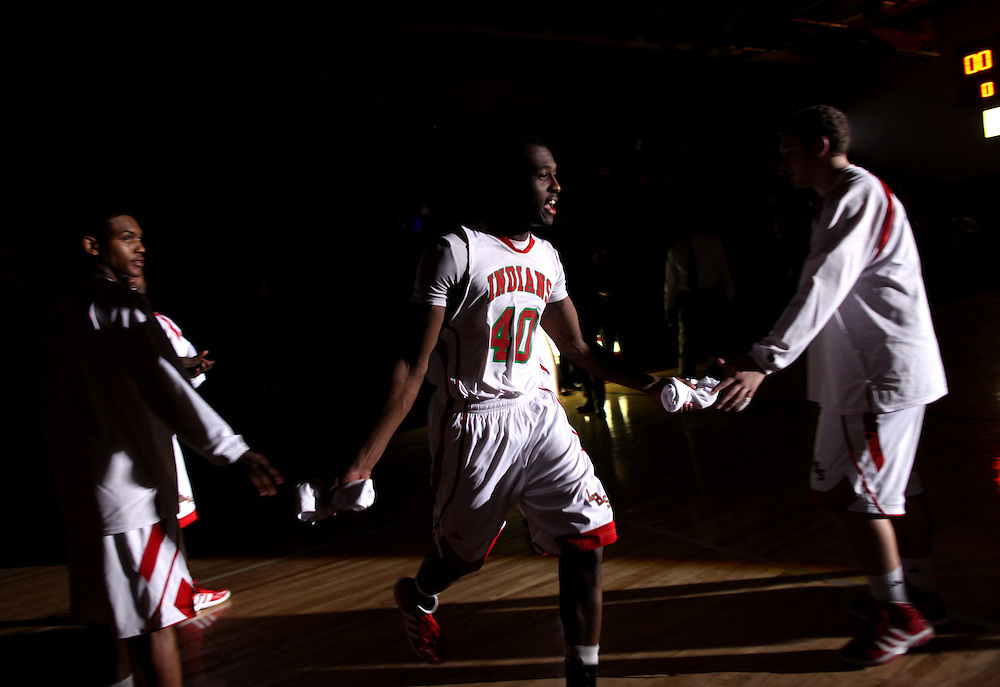Anderson High School's Terrance Johnson is introduced before they the game against Rival Muncie Central in Anderson, Ind. The team recently moved from the historical Wigwam to the more modern high school gym...Photo by Chris Bergin