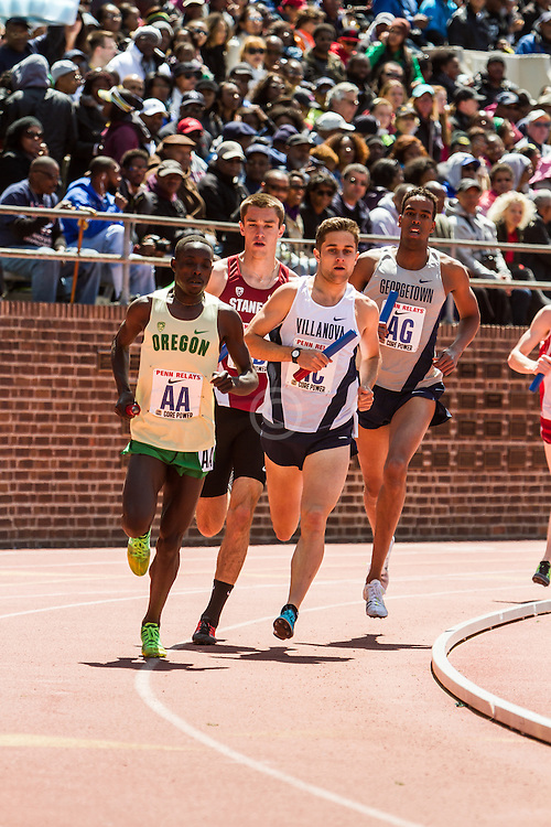 Penn Relays, College men 4 x mile relay, anchor leg, Cheserek, Oregon, Williamsz, Villanova