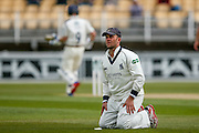 Warwickshire Jonathan Trott watches one race to the boundary during the Specsavers County Champ Div 1 match between Warwickshire County Cricket Club and Yorkshire County Cricket Club at Edgbaston, Birmingham, United Kingdom on 24 April 2016. Photo by Simon Davies.