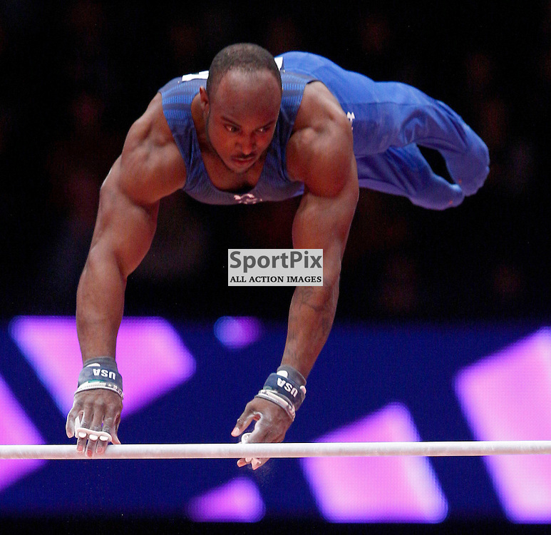 2015 Artistic Gymnastics World Championships being held in Glasgow from 23rd October to 1st November 2015....Donnell Whittenburg (USA) competing in the Horizontal Bar competition..(c) STEPHEN LAWSON | SportPix.org.uk