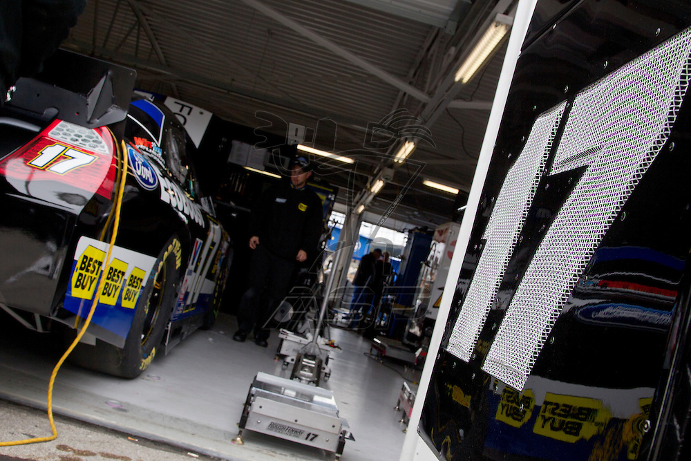 Kansas City, KS - APR 20, 2012:  Matt Kenseth (17) car in the garage before a practice session for the STP 400 race at the Kansas Speedway in Kansas City, KS.
