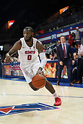 SMU Mustangs guard Tyson Jolly (0) drives the baseline while Hartford Hawks Head Coach John Gallagher looks on during an NCAA college basketball game, Wednesday, Nov. 27, 2019, in Dallas.SMU defeated Hartford 90-58. (Wayne Gooden/Image of Sport)