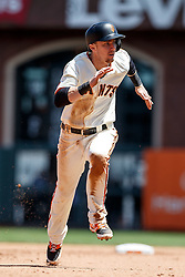 SAN FRANCISCO, CA - MAY 25: Matt Duffy #5 of the San Francisco Giants steals third base against the San Diego Padres during the sixth inning at AT&T Park on May 25, 2016 in San Francisco, California.  (Photo by Jason O. Watson/Getty Images) *** Local Caption *** Matt Duffy