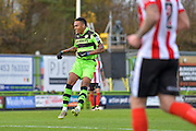Forest Green Rovers Midfielder, Keanu Marsh-Brown (7) scores to make it 2-0 during the Vanarama National League match between Forest Green Rovers and Lincoln City at the New Lawn, Forest Green, United Kingdom on 19 November 2016. Photo by Adam Rivers.