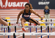 Mar 3, 3017; Albuquerque, NM, USA; Barbara Nwaba runs 8.41 in the pentathlon 60m hurdles during the USA Indoor Track and Field championships at the Albuquerque Convention Center.