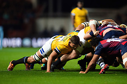 Mike Williams of Bath Rugby in action at a scrum - Mandatory byline: Patrick Khachfe/JMP - 07966 386802 - 18/10/2019 - RUGBY UNION - Ashton Gate Stadium - Bristol, England - Bristol Bears v Bath Rugby - Gallagher Premiership