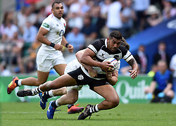 Charles Piutau of the Barbarians is tackled to ground - Mandatory byline: Patrick Khachfe/JMP - 07966 386802 - 02/06/2019 - RUGBY UNION - Twickenham Stadium - London, England - England XV v Barbarians - Quilter Cup International