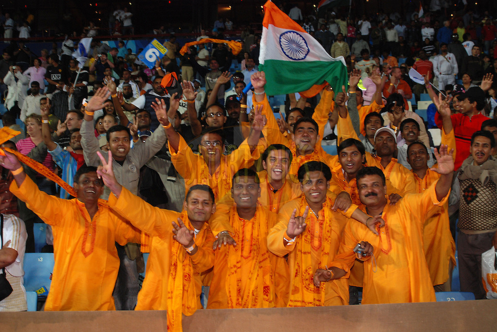 CENTURION, SOUTH AFRICA - 30 April 2009.  A very enthusiastic and patriotic group of supporters from India seen during the IPL Season 2 match between the Rajashan Royals and the Chennai Superkings held at Centurion, South Africa.