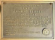 Plaque. Conrad Beissel, Ephrata Cloister, Religious Sect, Ephrata, Lancaster Co., PA