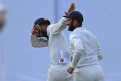 August 4, 2017 - Colombo, Sri Lanka - Indian cricketer Lokesh Rahul (L) celebrates after Sri Lankan cricketer Upul Tharanga (unseen) was dismissed during the 2nd Day's play in the 2nd Test match between Sri Lanka and India at the SSC international cricket stadium at the capital city of Colombo, Sri Lanka on Friday 04 August 2017. (Credit Image: © Tharaka Basnayaka/NurPhoto via ZUMA Press)