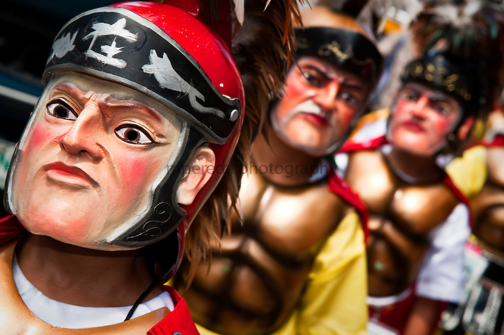 PHILIPPINES (Boac, Marinduque Island). 2009. Moriones (roman centurions) masks at the Moriones Festival in Boac. Moriones is a religious festival held every year at Easter  in Marinduque Island which links the story of Longinus with Christs Passion and Death.
