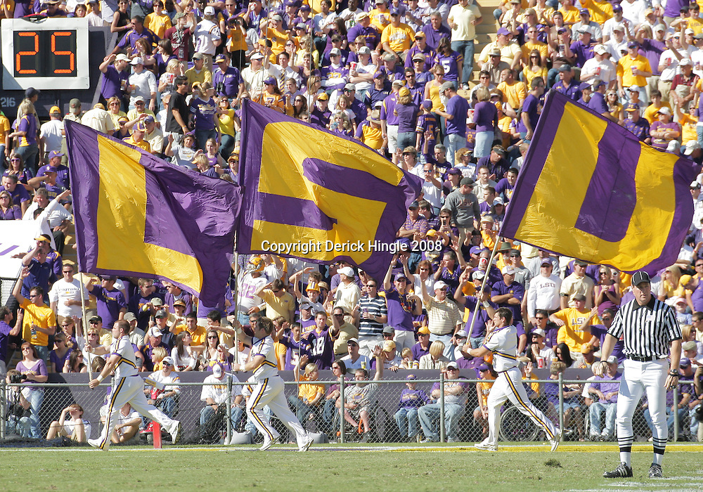 25 October 2008:  The LSU flag team runs along the endzone following a Tigers touchdown during the Georgia Bulldogs 52-38 victory over the LSU Tigers at Tiger Stadium in Baton Rouge, LA.
